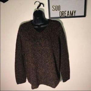 VAN HEUSEN Tweed Brown & Green V Neck Sweater